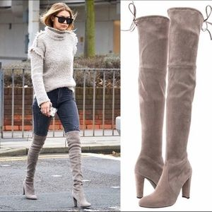 Stuart Weitzman Over the Knee Boots - Taupe Color